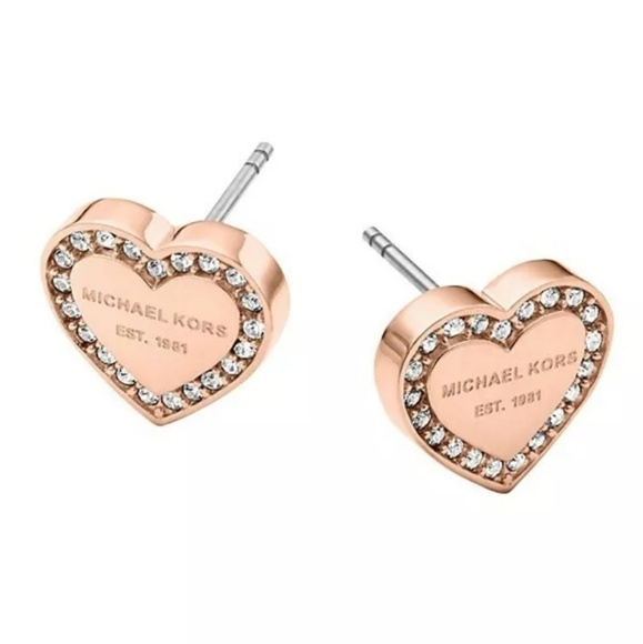 Michael Kors Jewelry - Michael Kors Rose Gold Heart Crystal Stud Earrings